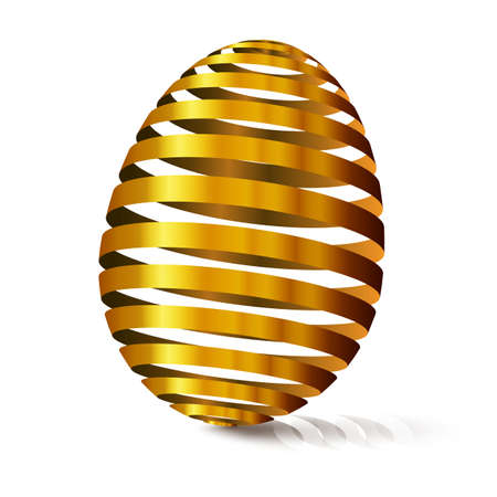 3d golden egg. Modular eggshell spaced. Happy Easter day. East tradicional gift for good luck. Stylized farm products.