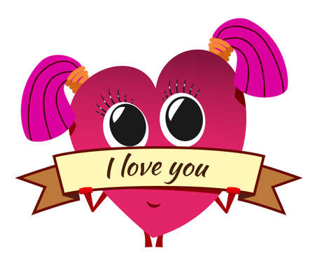 Cartoon red heart on Valentine's Day. Cute female character with pink pigtails and banner. Stylized shy girl. Love message.