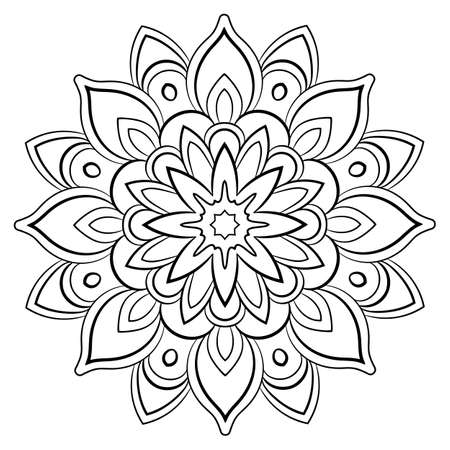 Contour mandala for color book. Monochrome illustration. Symmetrical pattern in a circle. A beautiful image for scrapbook. The template for printing on fabric. Picture for meditation and relaxation. Vecteurs