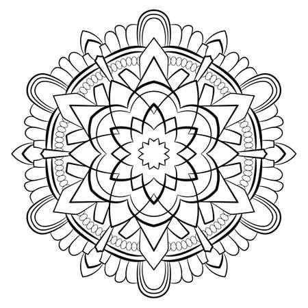 Mandala de contour pour livre de couleurs. Illustration monochrome. Motif symétrique dans un cercle. Une belle image pour scrapbooking. Le modèle pour l'impression sur tissu. Image pour la méditation et la relaxation.