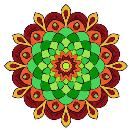 Colored mandala for color book. Symmetrical pattern in the circle.  Illustration for the album. Pattern for printing on fabrics. Figure for relaxation and meditation.