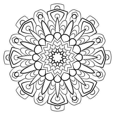 Contour mandala for color book. Monochrome illustration. Symmetrical pattern in a circle. A beautiful image for scrapbook. The template for printing on fabric. Picture for meditation and relaxation. Illusztráció
