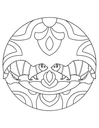 Pattern with ferrets. Illustration with a ferret. Mandala with an animal. Polecat in a circular frame. Coloring page for kids and adults.