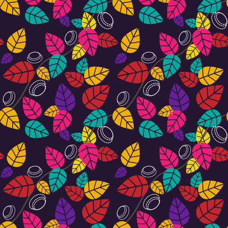 Autumnal seamless pattern of leaves. Colorful background for design. Template for printing on fabric. Texture for festive packaging. Illustration in retro style. Banque d'images - 134692010