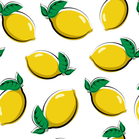 Seamless pattern of fruits. Template for printing on fabric and on wrapping paper. Stylized vegetable food. Colorful background of lemons. Texture for the color book.