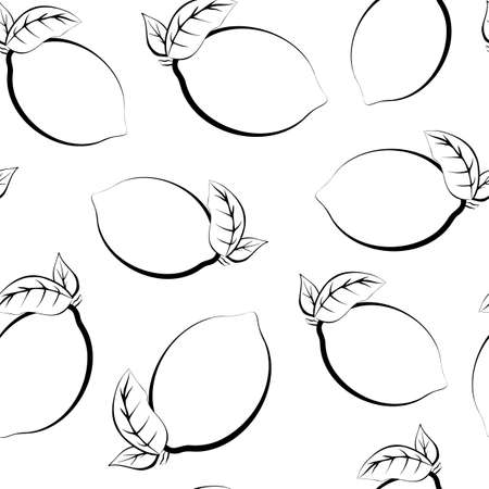 Seamless pattern of fruits. Template for printing on fabric and on wrapping paper. Stylized vegetable food. Monochrome background of lemons. Texture for the color book. Ilustracja