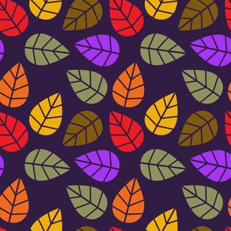 Autumnal seamless pattern of leaves. Colorful background for design. Template for printing on fabric. Texture for festive packaging. Illustration in retro style.