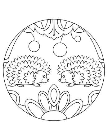 Hedgehog pattern. Illustration of hedgehogs. Mandala with an animal. Hedgehogs in a circular frame. Coloring page for kids and adults.