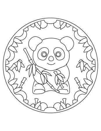 Pattern with panda. Illustration with a panda. Mandala with an animal. Panda in a circular frame. Coloring page for kids and adults.