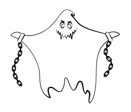 Contour ghost on a white background. Monster with shackles and chains. Cute black outline ghost. Character for decorating the Halloween festival. A ghost with emotions. Scarecrows for children. Çizim