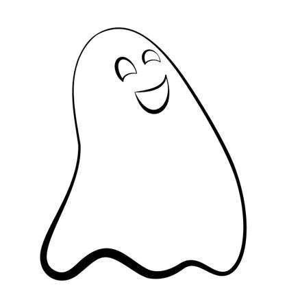Contour ghost on a white background. Cute black outline ghost. Character for decorating the Halloween festival. A ghost with emotions. Scarecrows for children.