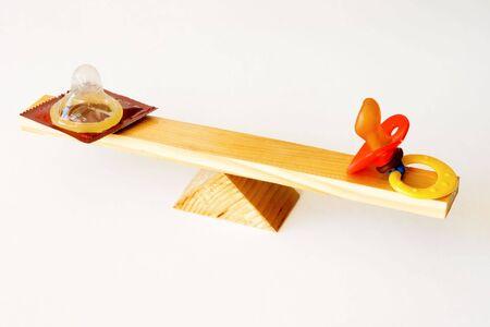 moderation: condom and dummy on a balance