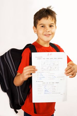 Young boy showing his good qualifications Stock Photo - 5553906