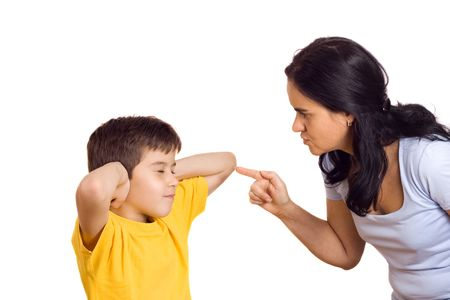 impish: Mother scolding her son with pointed finger