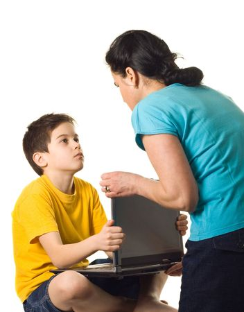 dependency: Mother warning her son to stop playing - isolated