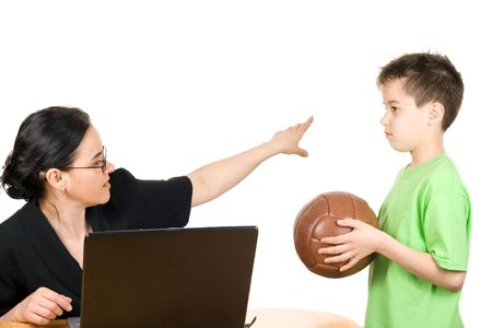 Too busy mother who don't have time to play with her son Stock Photo - 7045363