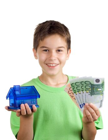 avail: Happy boy with money and house in his hand