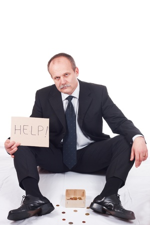 mendicant: Bankrupt businessman asks for help-isolated on white