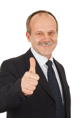 proffesional: Successful businessman pointing finger optimistic-isolated on white Stock Photo