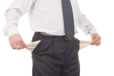 preoccupation: Businessman with empty pockets-isolated on white Stock Photo