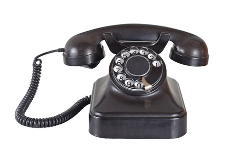 Old vintage telephone on white Stock Photo