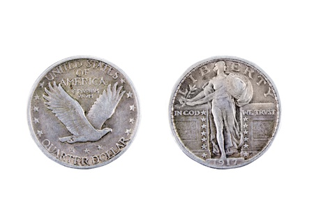 old quarter: American silver quarter dollar coin from 1917 Stock Photo