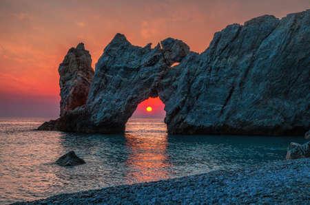 Dramatic sunrise in Skiathos, Lalaria Standard-Bild