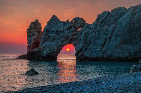 Dramatic sunrise in Skiathos, Lalaria 스톡 콘텐츠