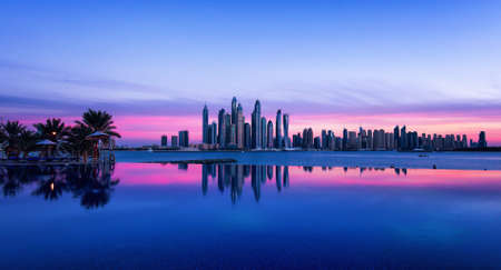 Dubai skyline with purple sky