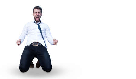 Attractive business man celebrating his victory isolated on a white background Stockfoto