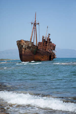 The famous shipwreck near Gytheio in Greece Stock Photo