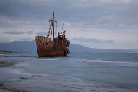 The famous shipwreck near Gytheio, Greece.