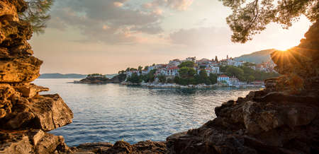 Skiathos harbor at sunset