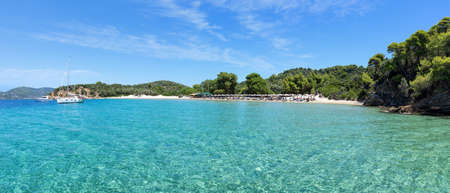 Panorama of a beach on Tsoungria island near Skiathos island