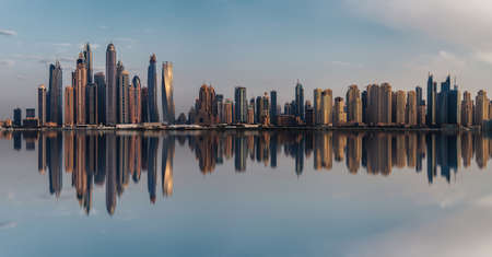 Skyline of Dubai Marina at sunset