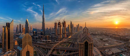 Panorama of Dubai Downtown at sunrise