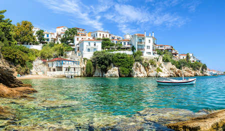 The old port of Skiathos Stock Photo