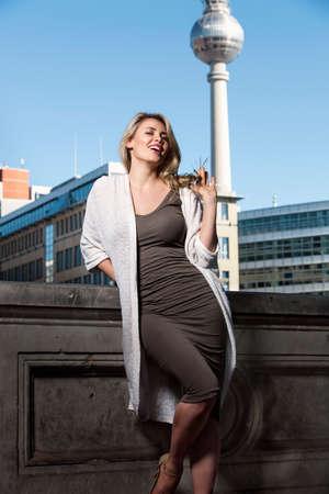 Young beautiful blond woman in Berlin