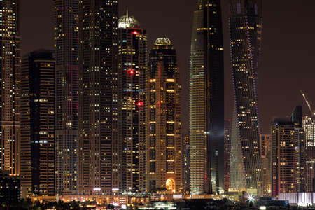 Skyscraper of Dubai Marina in the evening