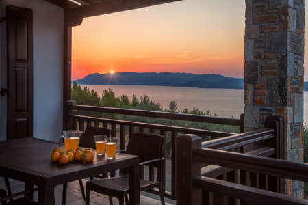 Hotel terrace with a beautiful view at sunset Stock fotó