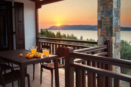 Beautiful terrace with breathtaking view at sunrise