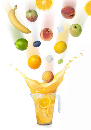 Many fruits are falling into the orange juice