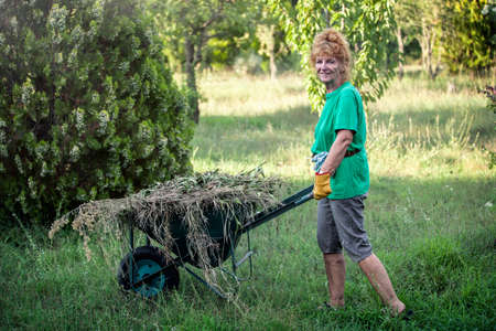 Pensioner with red hair at garden works Stock fotó
