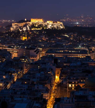 Acropolis and plaka at Athens in a blue hour
