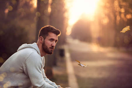 Attractive man with beard is sitting in a park at sunset Banque d'images
