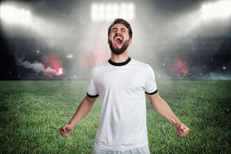 Soccer player celebrates his goal at a full soccer stadium Banque d'images
