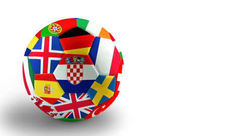 Football with european flags Banque d'images