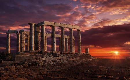 Temple of Poseidon at sunset Stock fotó