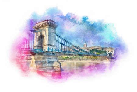 Chain Bridge and Buda Castle watercolor illustration, Budapest, Hungary