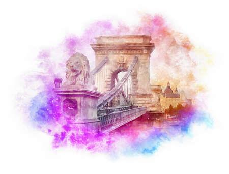 Chain Bridge watercolor illustration, Budapest, Hungary